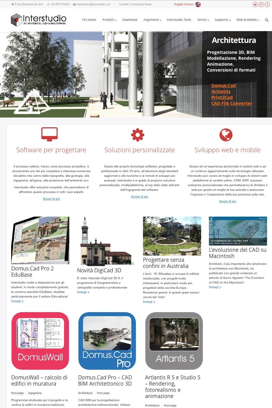 Il sito di Interstudio nel 2015